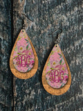 EDITABLE PSD - Pink Floral Leather and Cork Look Drop Earring Sublimation Design