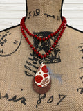 Red Beaded Glass Necklace Sublimation Kit