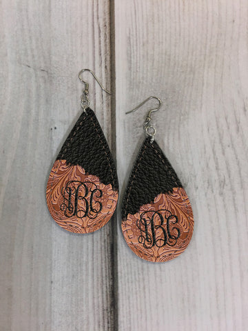 EDITABLE PSD - Floral Embossed Brown and Black Stitched Leather Look Drop Earring Sublimation Design