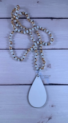 Tan and White Beaded Glass Necklace Sublimation Kit