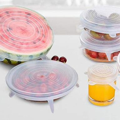 Silicone reusable lids to cover and protect food