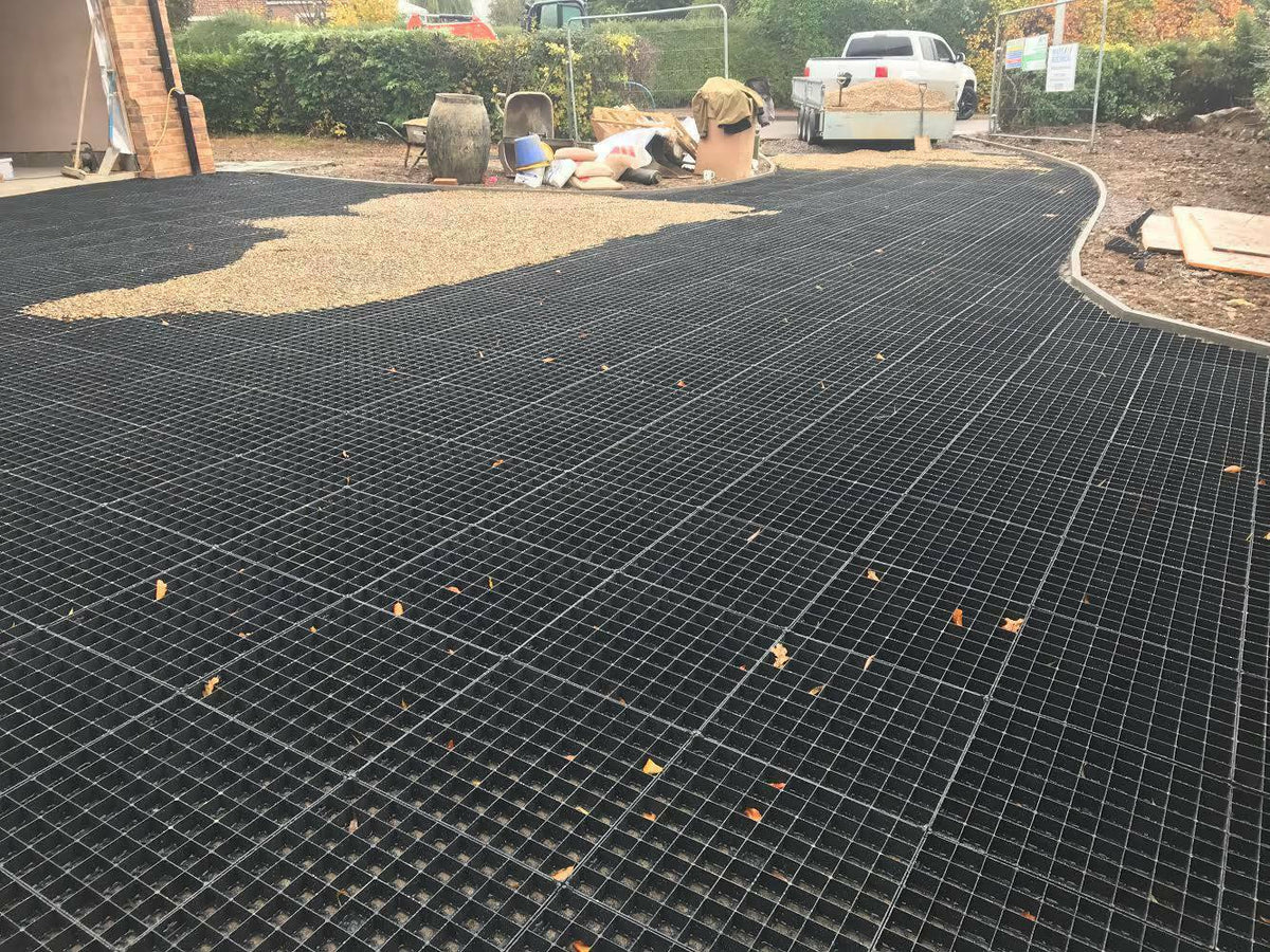 IBRADRIVE parking grids interlock to provide a solid base for your gravel driveway