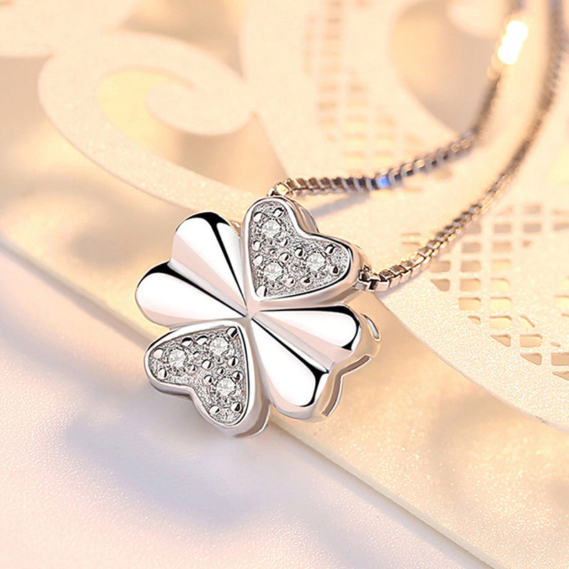 REAL SOLID SILVER 925 Classic Sterling Silver Necklace & Pendant Clover-079