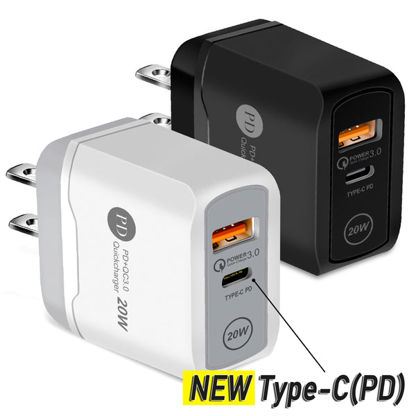 20W With Type-C Plug - Fast Quick USB Wall Charger Adapter