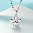 REAL SOLID SILVER 925  Classic Sterling Silver Necklace & Pendant Flower-091