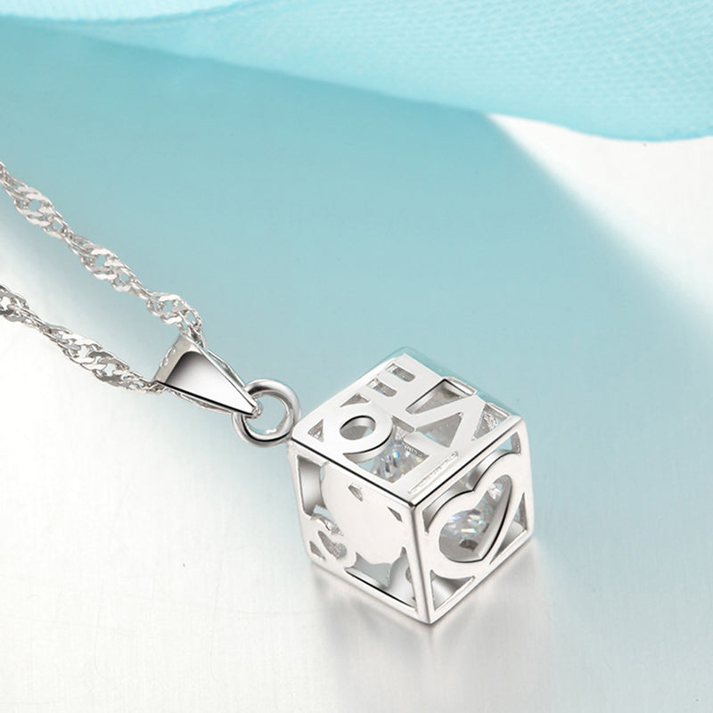 REAL SOLID SILVER 925 Classic Sterling Silver Necklace & Pendant Love Box-051