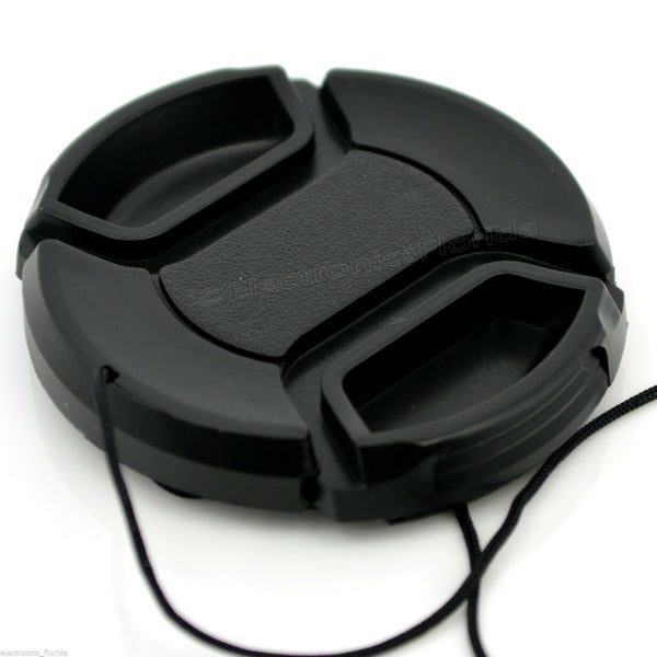 82mm Lens Cap center pinch snap on Front Cover string for Canon Nikon Sony -e165