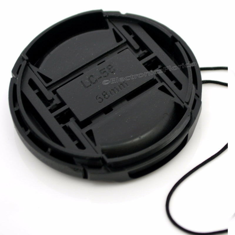 58mm Lens Cap center pinch snap on Front Cover string for Canon Nikon Sony -e162