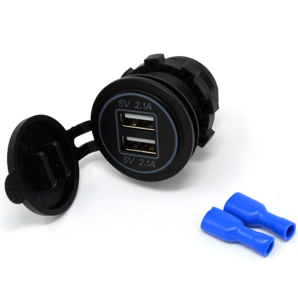 Dual USB Charger Socket Outlet For Car Boat, Motorcycle, Golf Cart