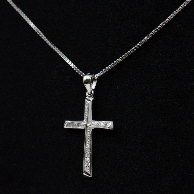 REAL SOLID SILVER 925 Classic Sterling Silver Necklace & Pendant Cross-021