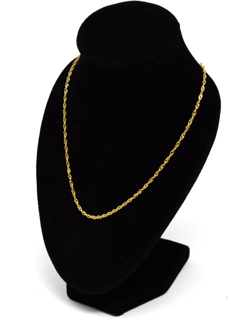 14k Gold over .925 Sterling Silver Chain Necklace Italy Jewel Vermeil (Width-1.4mm) (Water Wave Model)