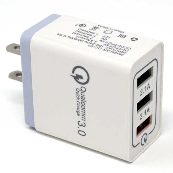 Fast Charge ( 3 Ports ) CAR charge (18W / 5,9,12V / 4A) - White