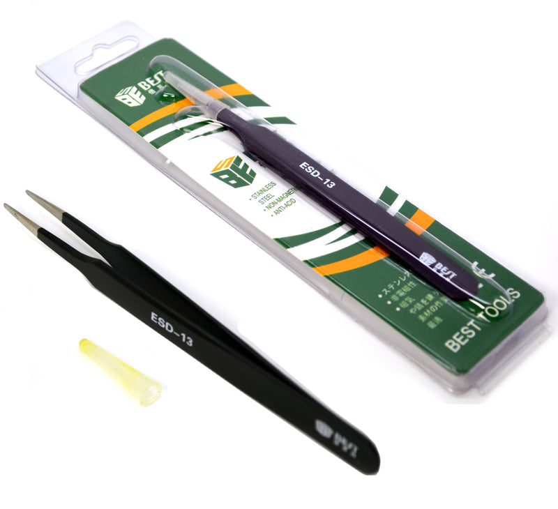 Stainless Steel Non Magnetic Anti-Static Round Tip Tweezers