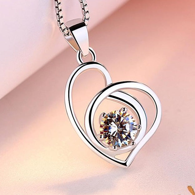REAL SOLID SILVER 925 Classic Sterling Silver Necklace & Pendant Heart-049