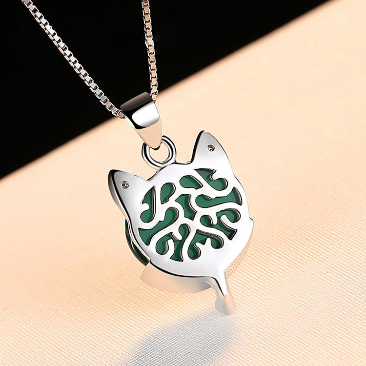 REAL SOLID SILVER 925 Classic Sterling Silver Necklace & Pendant Cat -004