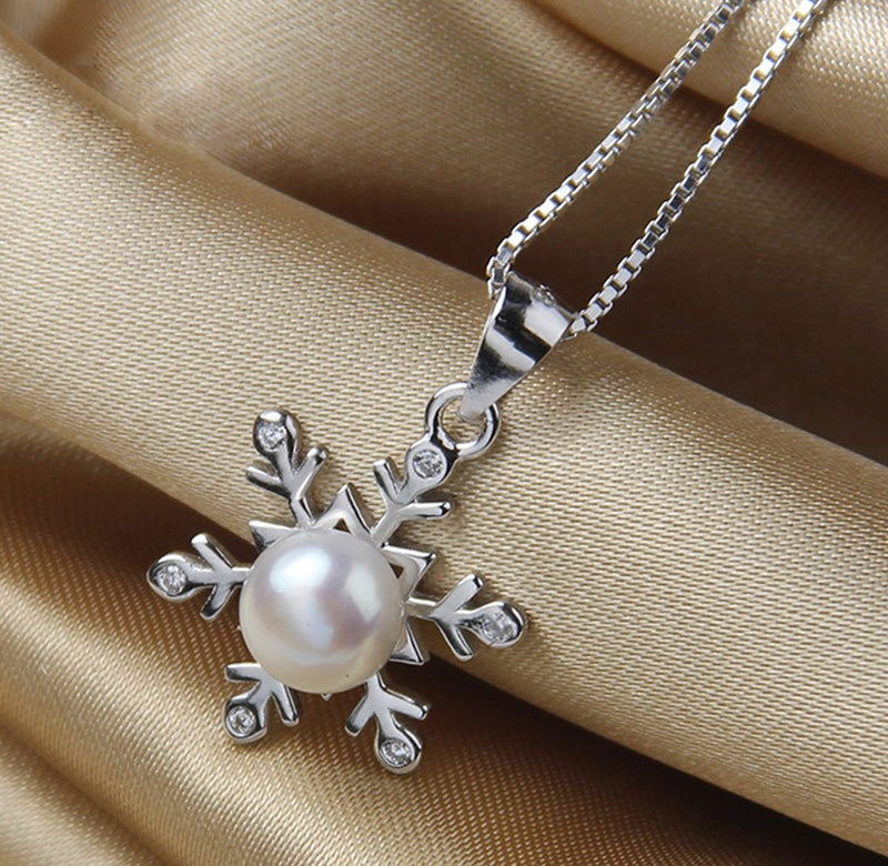 REAL SOLID SILVER 925 Classic Sterling Silver Necklace & Pendant Snowflake-017