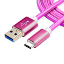 Nylon Braided (1ft/3ft/6ft/10ft/15ft) USB 2.0 (Type-C to USB) Data & Sync Charging Cable