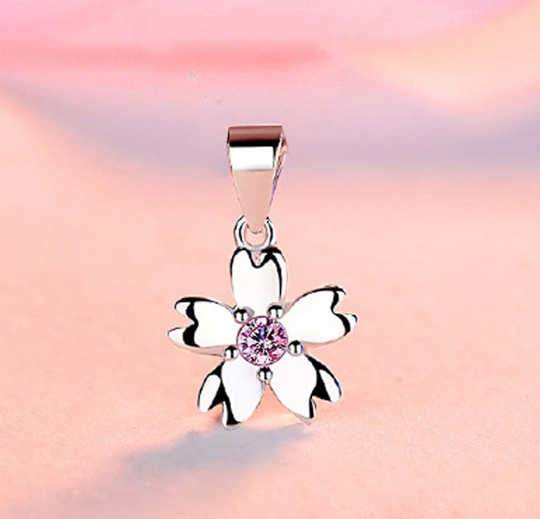 REAL SOLID SILVER 925 Classic Sterling Silver Necklace & Pendant Flower-088