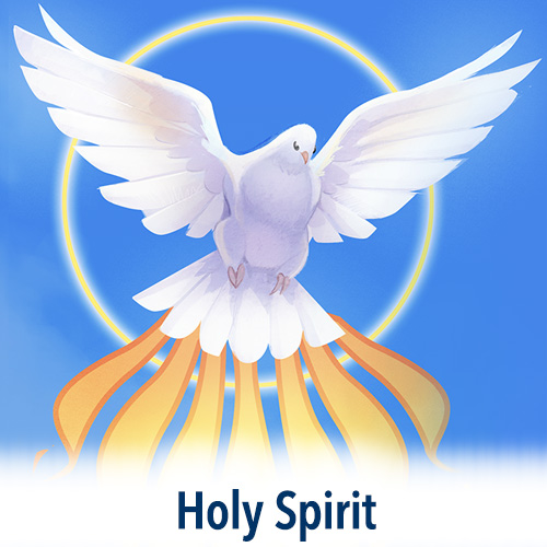 A vibrant dove is the focal point of this lovely illustration which graces our Holy Spirit Collection.