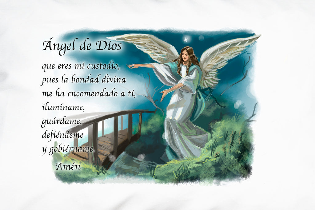 This is a closeup of the Angel de Dios (Angel of God) Prayer Pillowcase.