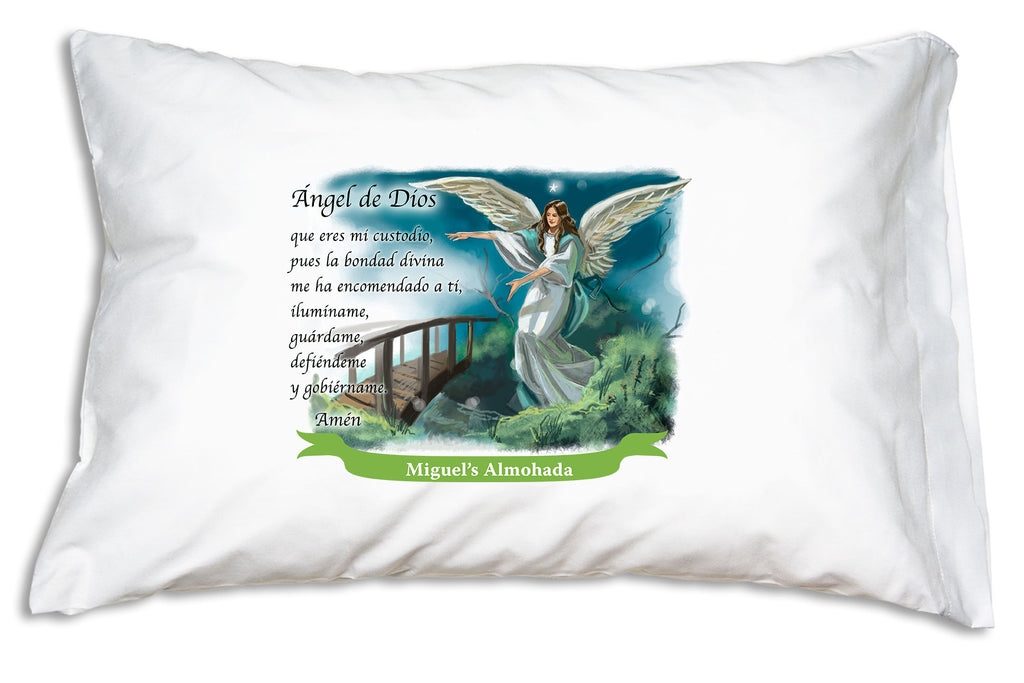 We add the name to a festive banner like this when you personalize the Angel de Dios Prayer Pillowcase.