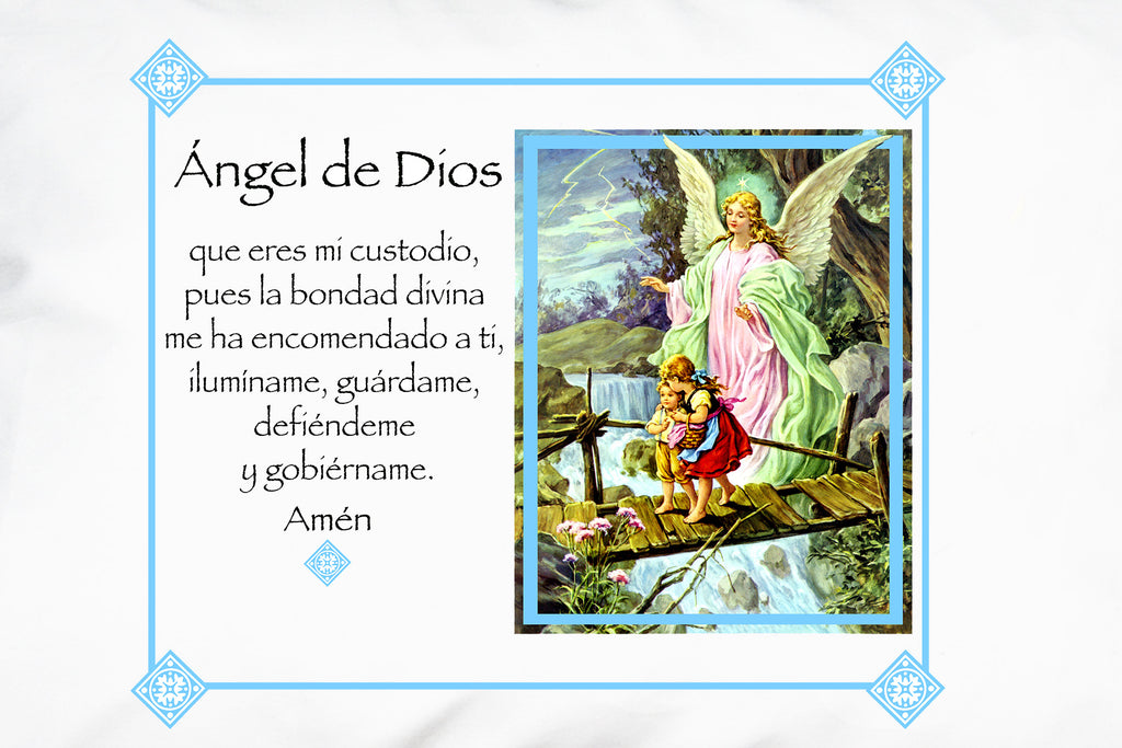 Closeup of the pretty Angel de la Guarda Ángel de Dios (Guardian Angel, Angel of God) Prayer Pillowcase