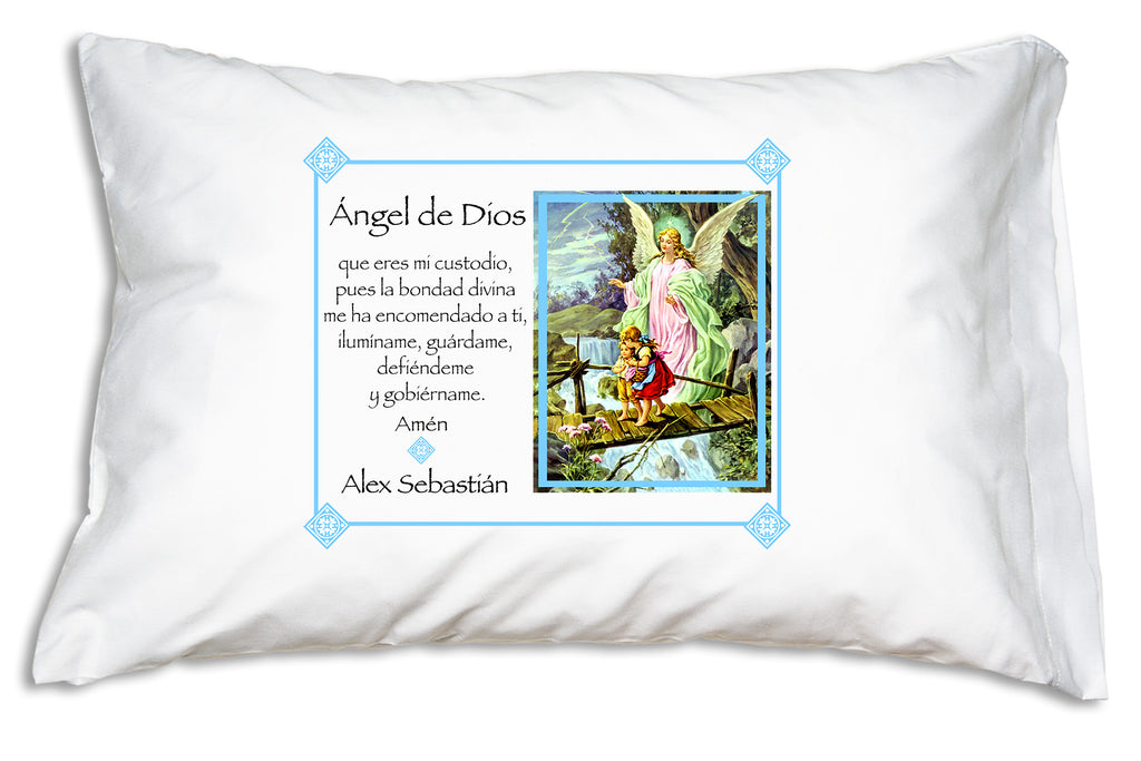 Our Angel de la Guarda Ángel de Dios (Guardian Angel, Angel of God) Prayer Pillowcase personalized example.