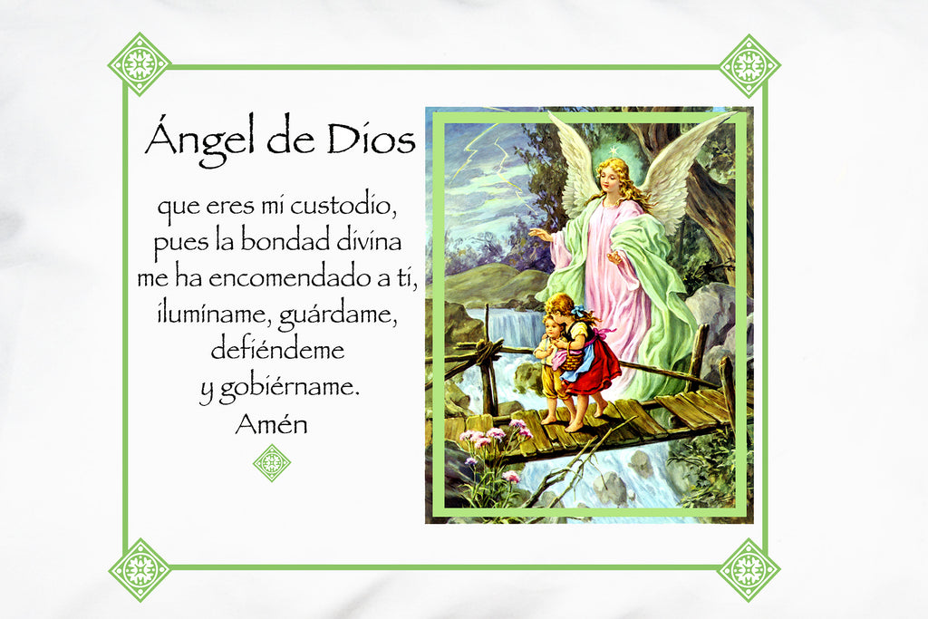 Closeup of Ángel de la Guarda/Verde Prayer Pillowcase with the Ángel de Dios (Angel of God)