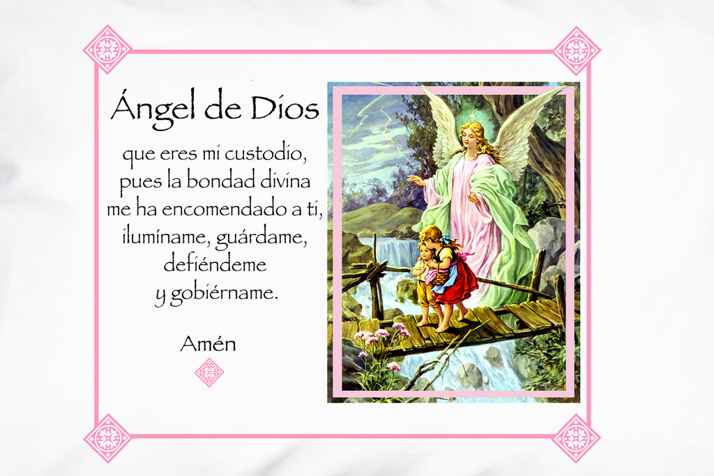 Closeup of the Ángel de la Guarda Prayer Pillowcase/Rosa with Ángel de Dios (Angel of God) prayer.