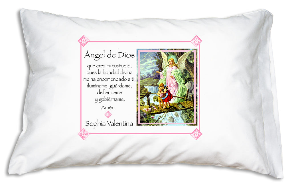 Here's how you can personalize the sweet Ángel de la Guarda Prayer Pillowcase