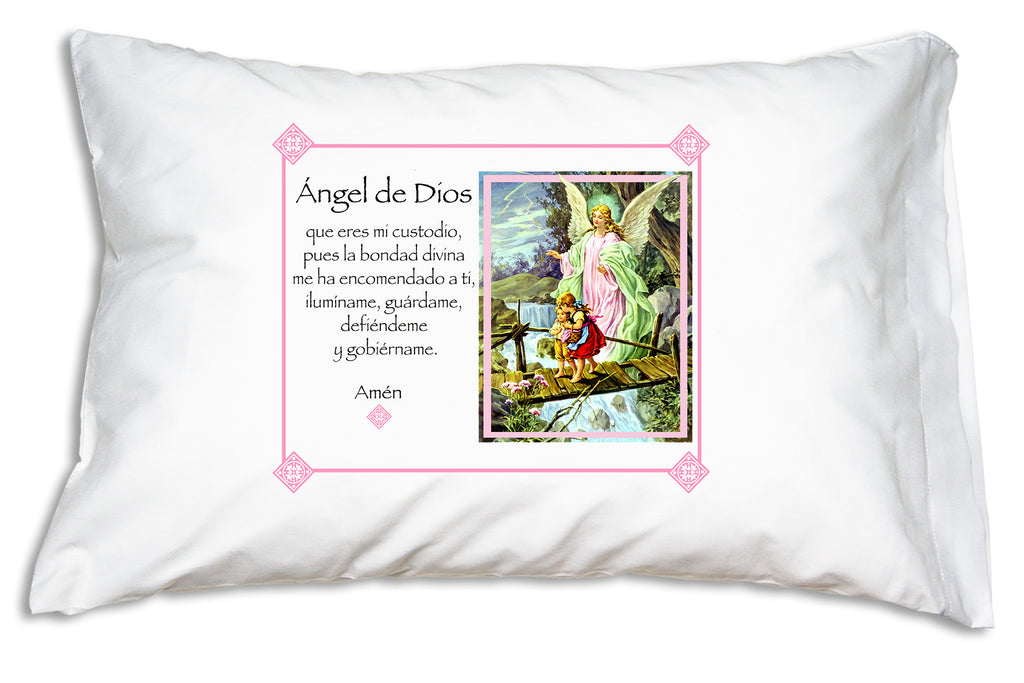 Pretty Ángel de la Guarda Prayer Pillowcase/Rosa teaches children to pray to their guardian angel!