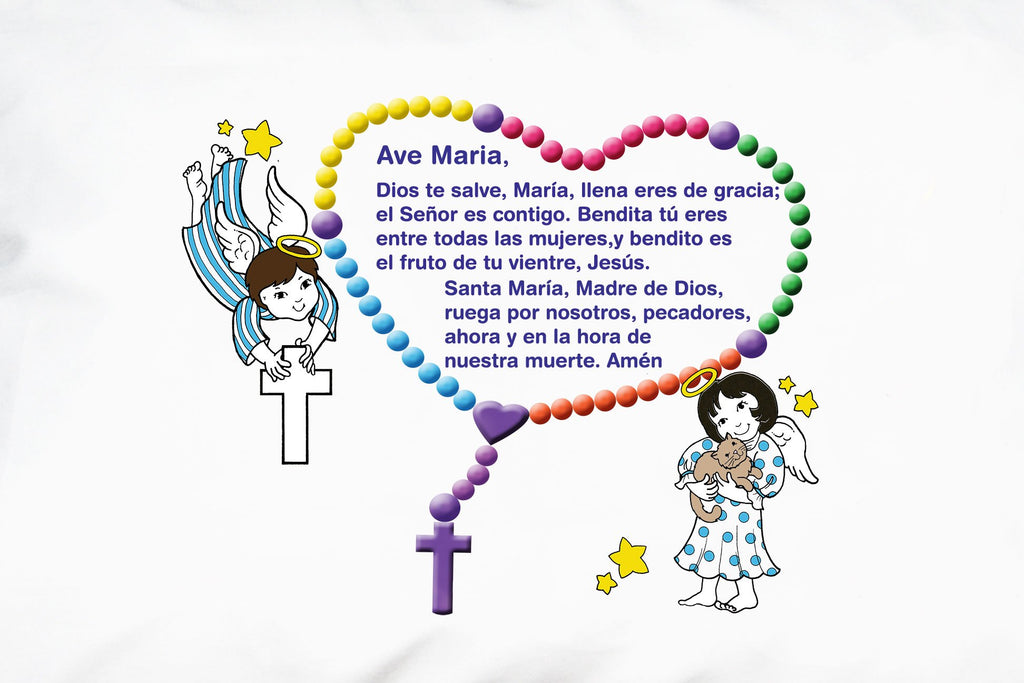 This is one side of the joyful Ángeles Pequeños: Padre Nuestro y el Ave María Prayer Pillowcase