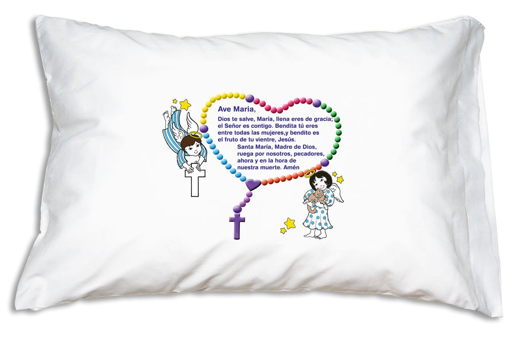 This shows el Ave María (the Hail Mary) on the double-sided Ángeles Pequeños Prayer Pillowcase.