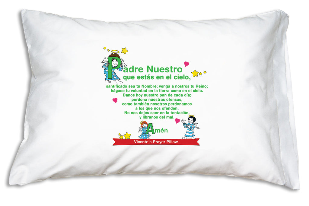 The name goes on a bright banner when you personalize Ángeles Pequeños: Padre Nuestro y el Ave María Prayer Pillowcase