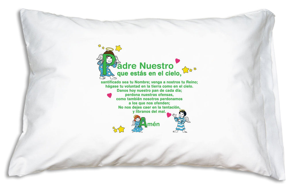 Here's the double-sided Ángeles Pequeños Prayer Pillowcase showing the Padre Nuestro.