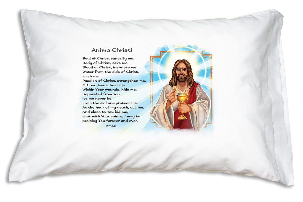 Prayer Pillowcases' Anima Christi design features this uplifting portrait of Jesus alongside the beloved Anima Christi prayer.