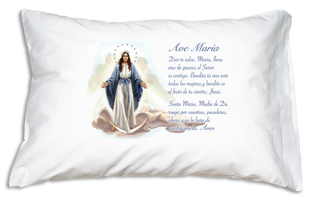 Here is the pretty devotional Ave María Spanish Prayer Pillowcase