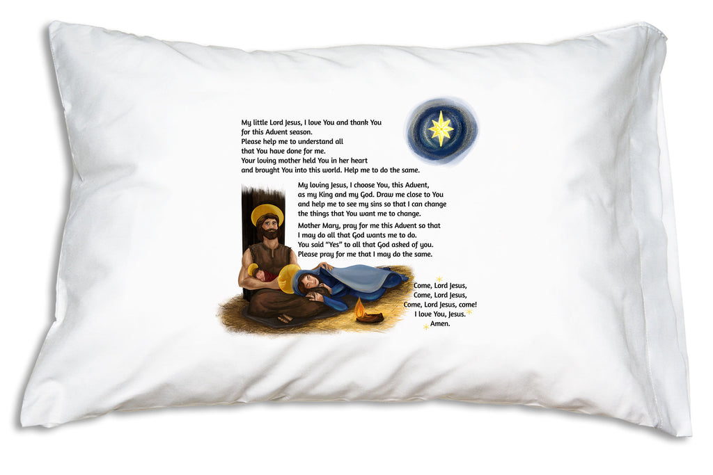 The Child's Prayer for Advent is a wonderful complement to our beautiful image of the Holy Family on this pillowcase.