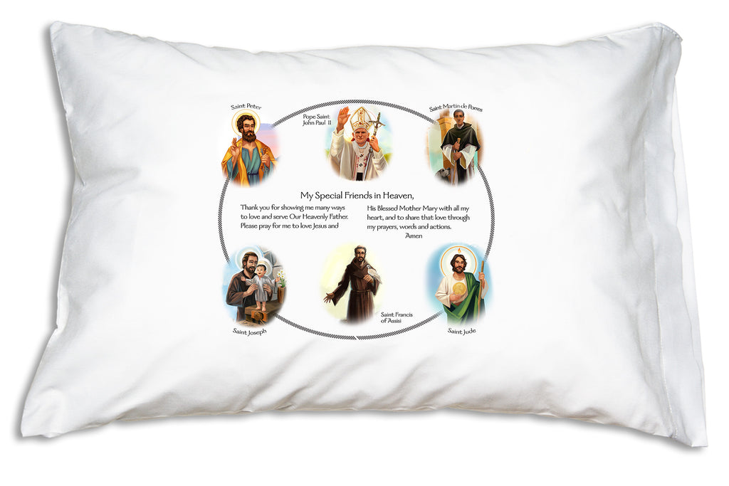 The Circle of Friends Blessed Brothers Prayer Pillowcase features a prayer and portraits of six favorite saints.