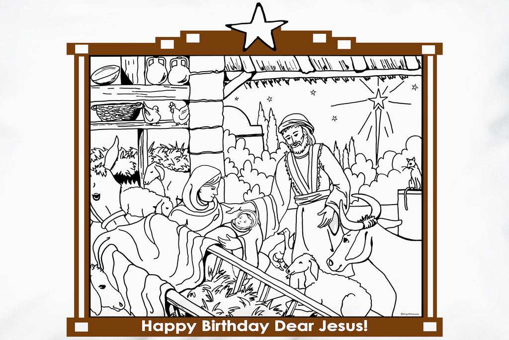 Happy Birthday Jesus Pillowcase has a merry Nativity scene to color.