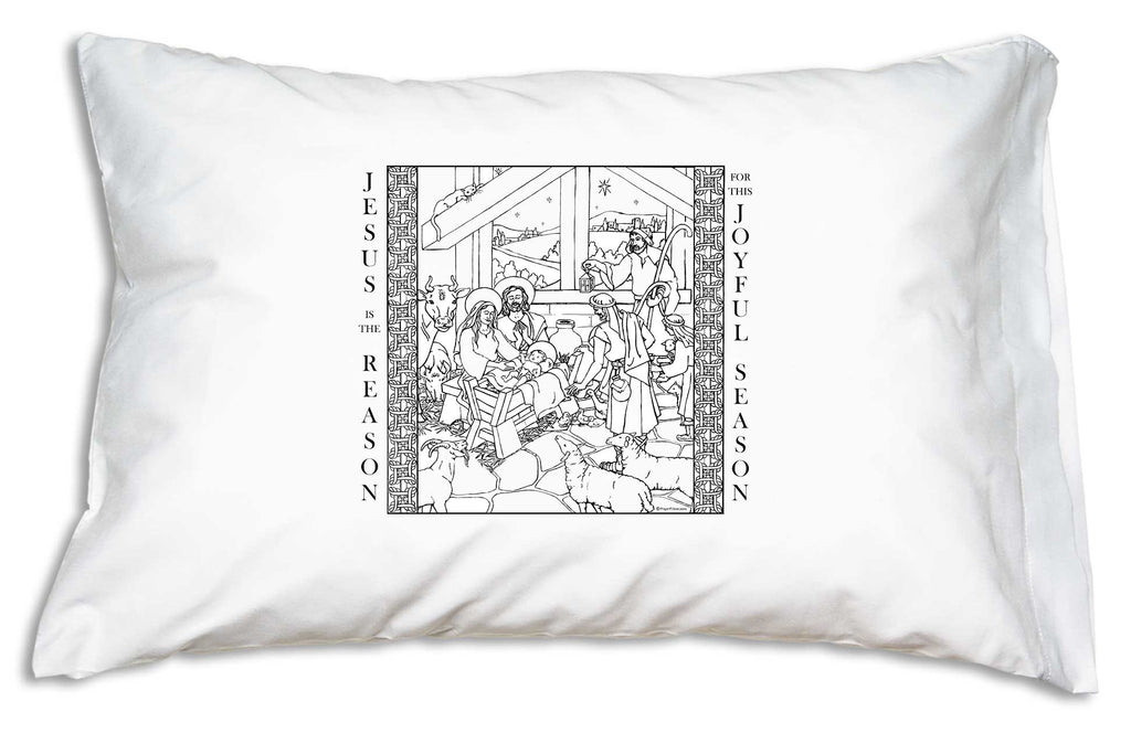 Shepherds and a menagerie of animals around Baby Jesus, Mary and Joseph provide lots of coloring fun on the Jesus is the Reason Color Me Pillowcase.