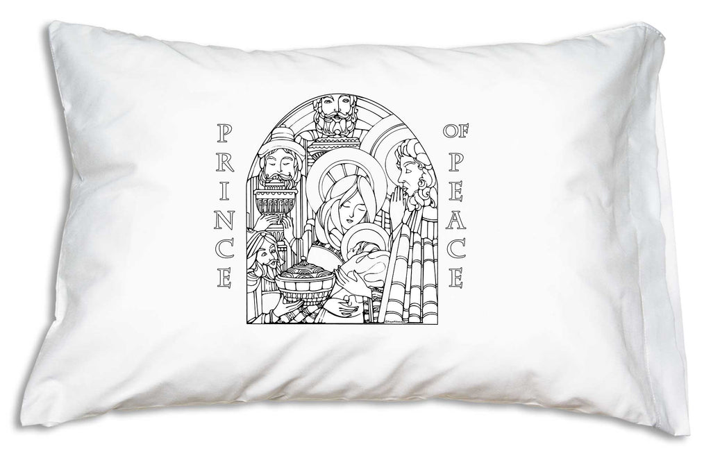 The Prince of Peace Color Me Pillowcase features the newborn King encircled by his Holy Mother, Saint Joseph and adoring Wise Men.