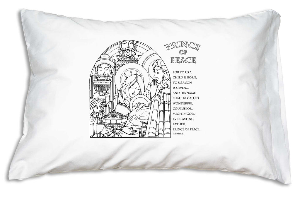 The tranquil, hopeful, holy scene on the Prince of Peace Scripture Color Me Pillowcase will lead all hearts to a peaceful night's sleep this Christmas season!