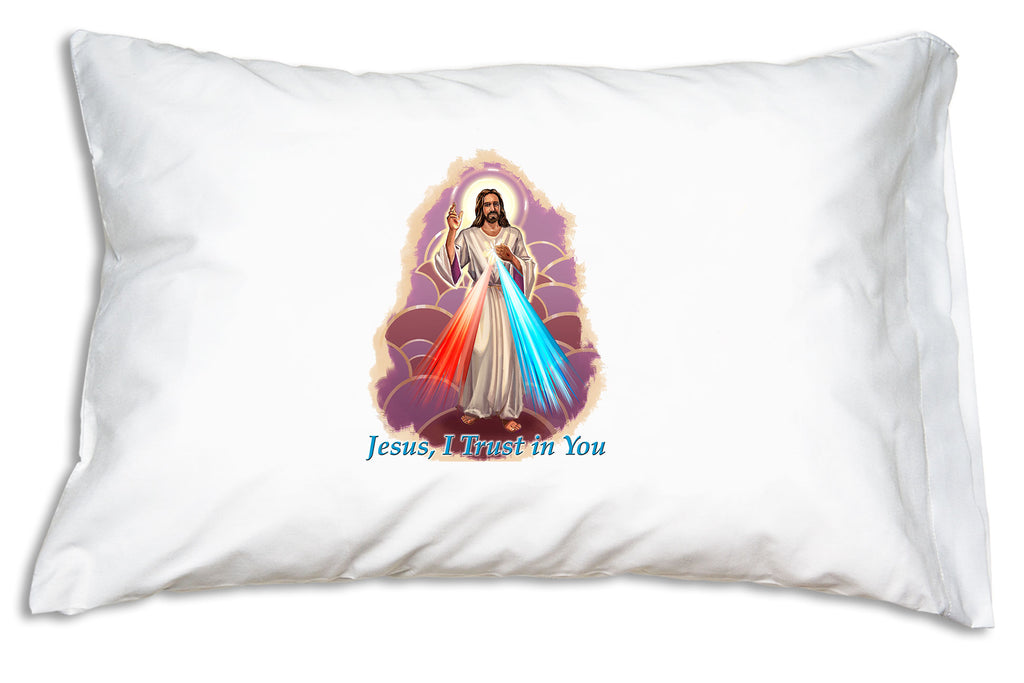 "Prayer Pillowcases Divine Mercy pillow case vibrantly illustrated with the prayer ""Jesus, I trust in you."""