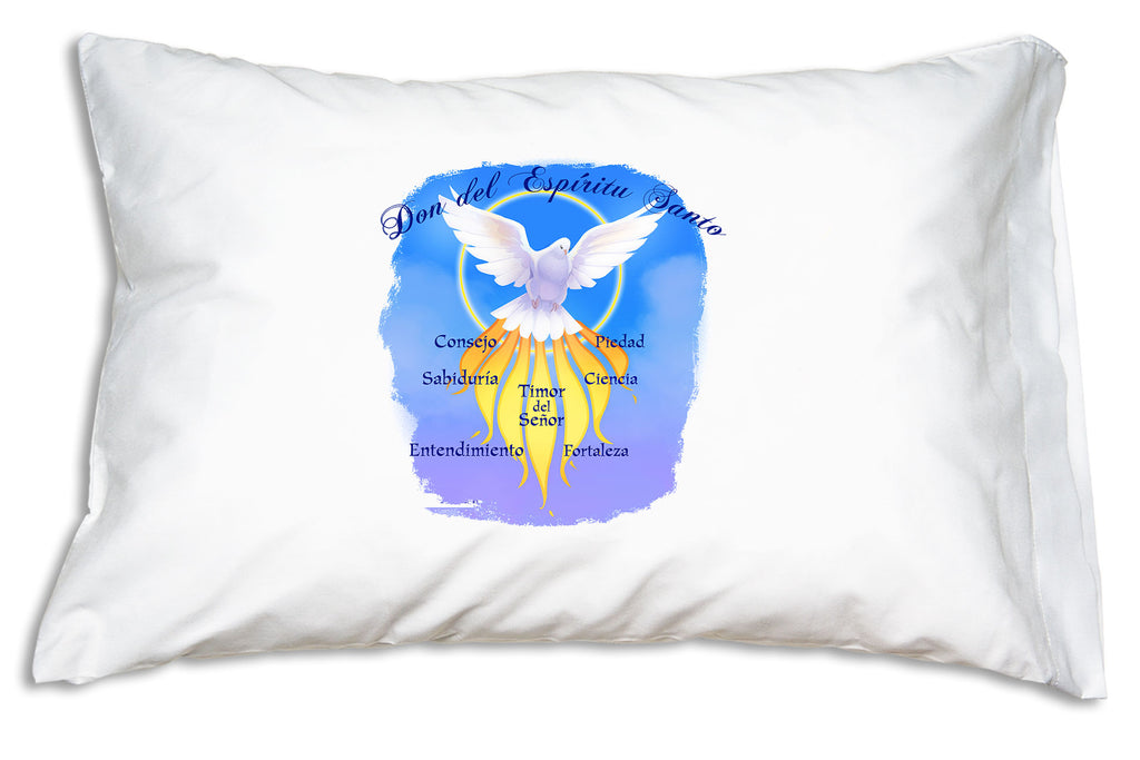 The vibrant a Don del Espíritu Santo (Gifts of the Spirit) Confirmation Prayer Pillowcase
