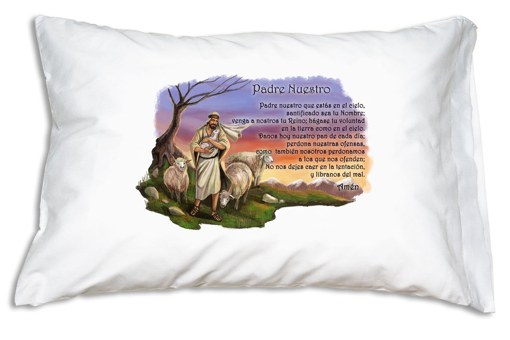 The El Buen Pastor (Good Shepherd) and the Padre Nuestro (The Our Father) are featured on this this heavenly Prayer Pillowcase design.