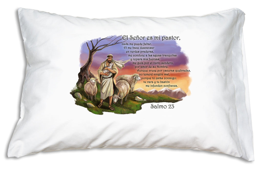 This Prayer Pillowcase features Salmo 23 (Psalm 23) and a beautiful illustration of Our Lord as El Buen Pastor (the Good Shepherd).