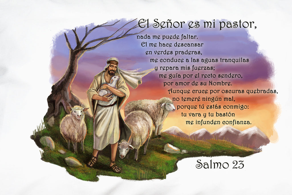 This closeup shows the beautiful illustration on Prayer Pillowcases El Señor es mi Pastor pillow case.