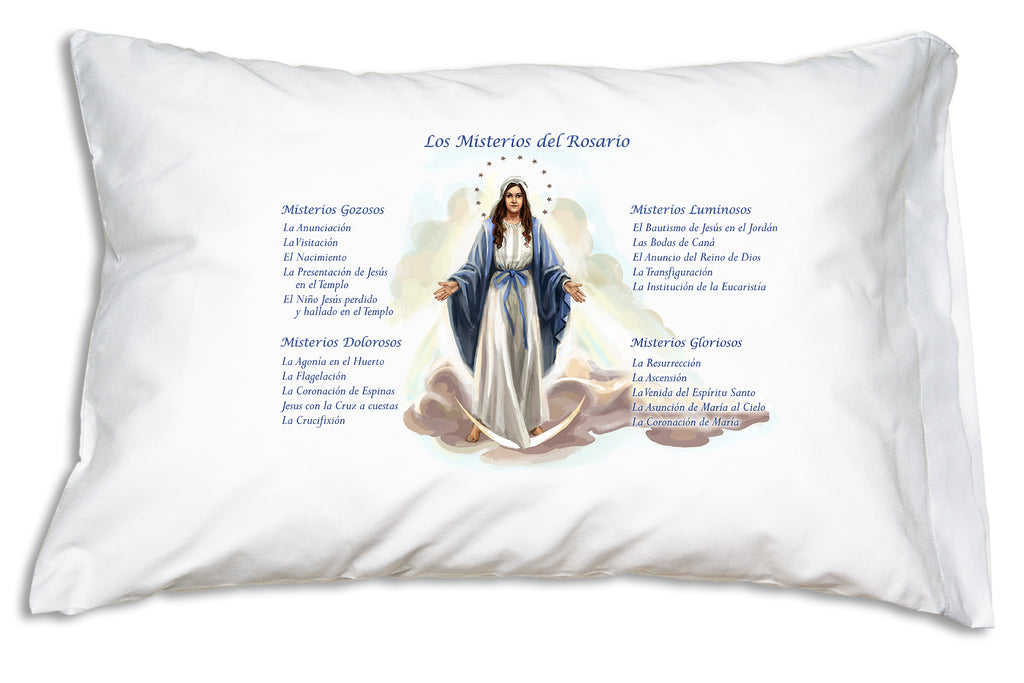 Los Misterios del Rosario (Mysteries of the Rosary) Prayer Pillowcase has all 5 Mysteries printed with pretty illustration of Our Lady of Grace.