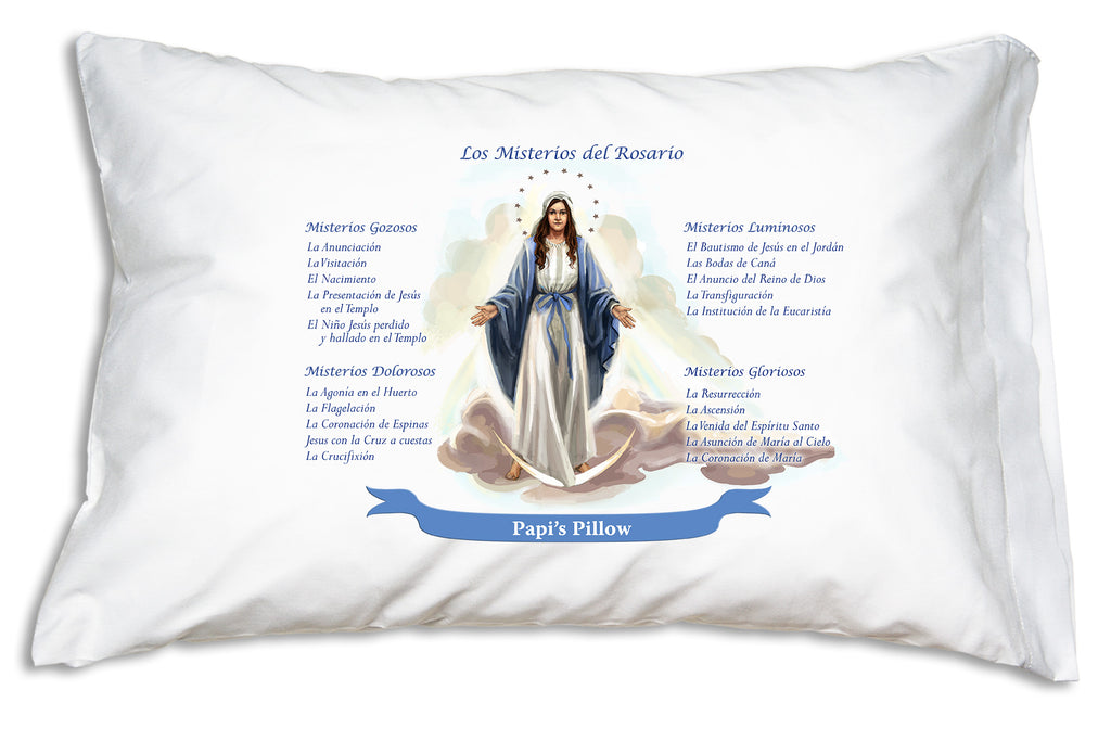 The name goe on a festive banner when you personalize a Los Misterios del Rosario (Mysteries of the Rosary) Prayer Pillowcase.